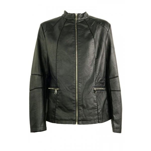 Woman's Black Leather Jacket AAAY063A